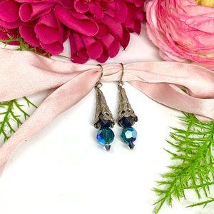 VINTAGE⚜️Turquoise Crystal Filigree Earrings